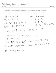 Solutions, Exam 1, Version 2