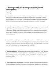 Advantages and disadvantages of principles of management