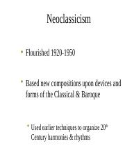 19 Stravinsky and Shoneberg - Neoclasicism and Expressionism