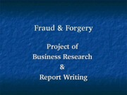 Fraud & Forgery