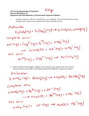 Solve It Worksheet 7 Key F'16 - Equations and Stoichiometry of Reactions in Aqueous Solution