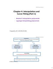 Chapter 4 Interpolation  Curve Fitting (Part 1)