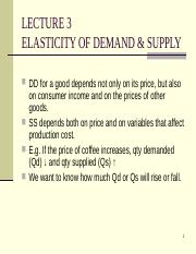 Lecture 3Elasticity of DD & SS