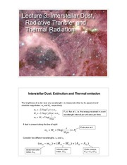 Study Guide on Interstellar Dust, Radiative Transfer, Thermal Radiation