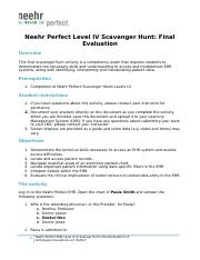 Neehr Perfect EHR Level IV Scavenger Hunt-Final Evaluation Wayne Sanders