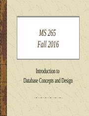 Part 2 MS 265 Database Concepts and Design Fall 2016