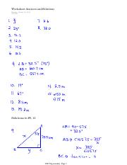 Worksheet Answers and Solutions