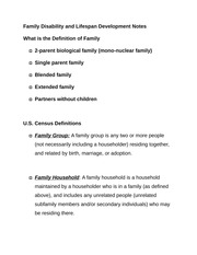 Family Disability and Lifespan Development Notes