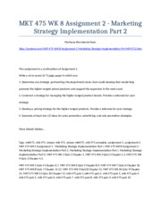 MKT 475 Week 8 Assignment 2 - Marketing Strategy Implementation Part 2 - Strayer