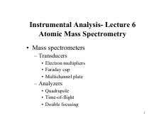 Lecture 6 - Atomic Mass Spectrometry