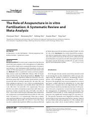 The Role of Acupuncture in in vitro Fertilization_A Systematic Review and Meta-Analysis