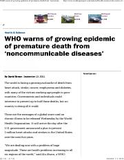 WHO warns of growing epidemic of premature death from 'noncommunicable diseases' - The Washington Po