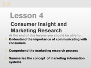 Consumer Insight and Marketing Research