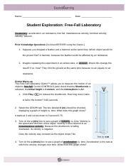 Student Exploration- Free-Fall Laboratory (ANSWER KEY ...