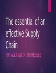 The essential of an effective Supply Chain