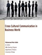 Cross Cultural Communication in Business
