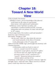 Chapter 18- Toward A New World View