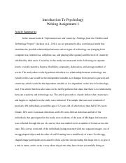 Psychology writing assignments