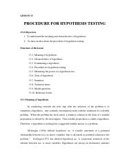 Lesson-13 PROCEDURE FOR HYPOTHESIS TESTING.pdf
