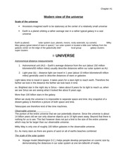 Chapter 1 Modern view of the universe Class Notes