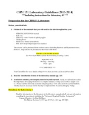 CHM151 Lab guidelines
