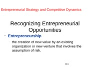 Recognizing Entrepreneurial Opportunities
