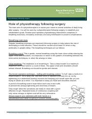 Role of physiotherapy following surgery_apr14