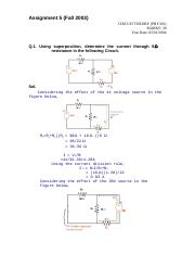 Circuit Theory - PHY301 Fall 2003 Assignment 05 Solution