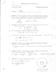Past Exam #1 Solutions