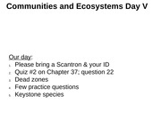 Chapter 37 Communities and Ecosystems part V Presentation with Notes