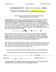 CHEM101-2006FALL-FINAL-ANSWERS