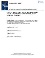 Ethnicity level of study gender religious affiliation and life satisfaction of adolescents from dive