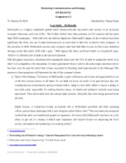 Marketing Communications and Strategy- Memo 3
