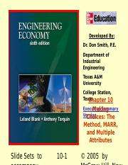 Leland_Tarquin_Engineering_Economy_Chapter_10_Making_Choices_MARR.ppt