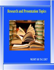 MGMT101 L4 28 July 17 Research and Presentation Projects bb.pptx