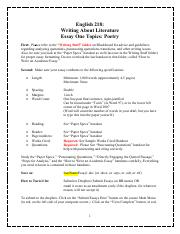 *Essay 1 (Poetry Instructions and Handouts)* ~ Essay One Topics