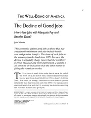 the decline of good jobs