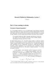 Research Methods in Mathematics Lecture 1