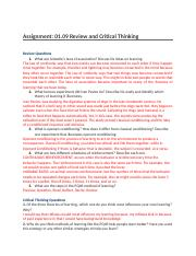 Assignment- 01.09 Review and Critical Thinking  .docx