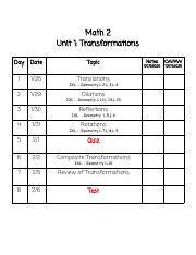 Answers To Unit 1 Packet.pdf - Math 2 Unit 1 Transformations Day Date Topic  Notes 100,75,50,25 CW\/HW 100,75,50,25 Translations Dilations Reflections |  Course Hero