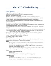 CS 2300B - Study Notes by Theme -  (20) Chariot Racing