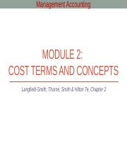 Module 2 - Cost terms and concepts