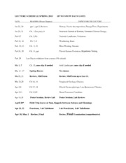 0 Lecture Schedule Spring 2013 e