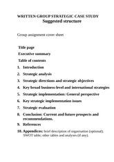 Strategic Management group written strategic case study suggested structure and summary sheets(2)