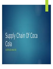 Supply Chain Of Coca Cola