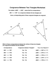 Congruence between two triangles wksheet