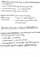 Class notes on field research