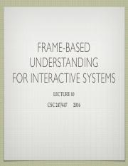 Lecture 9 Frame-based Understanding