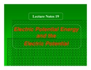 Ch 19 Electric Potential Energy and the Electric Potential