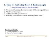 Lecture11 Scattering theory I